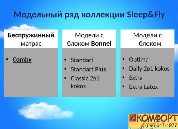 Модели матрасов Sleep&Fly
